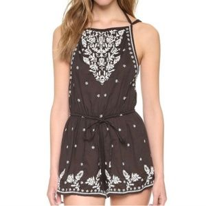 Star Mela Avi Embroidered Playsuit in Faded Black